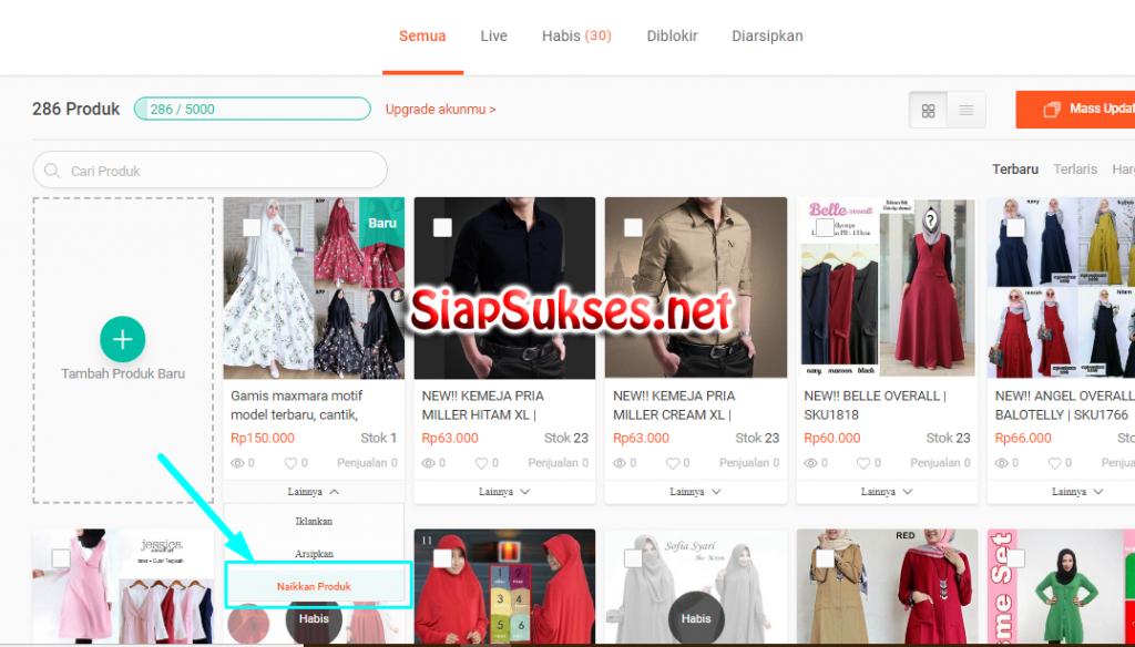 cara berjualan di shopee - naikkan produk