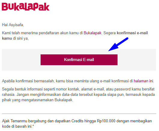 cara jualan di bukalapak - konfirmasi email pendaftaran