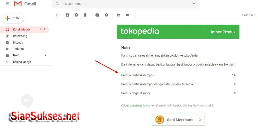 cara upload ke tokopedia : pemberitahuan di email