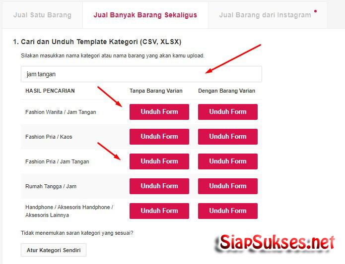 cara upload produk ke bukalapak - download template