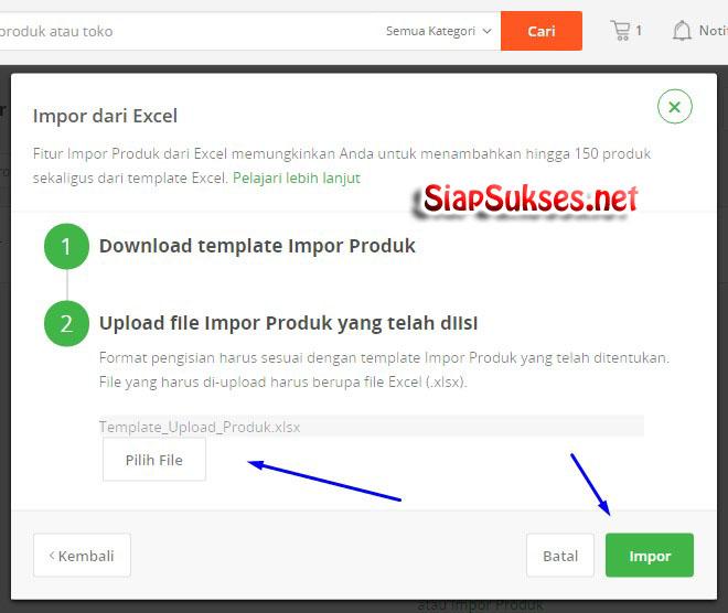 cara upload produk ke tokopedia - impor produk