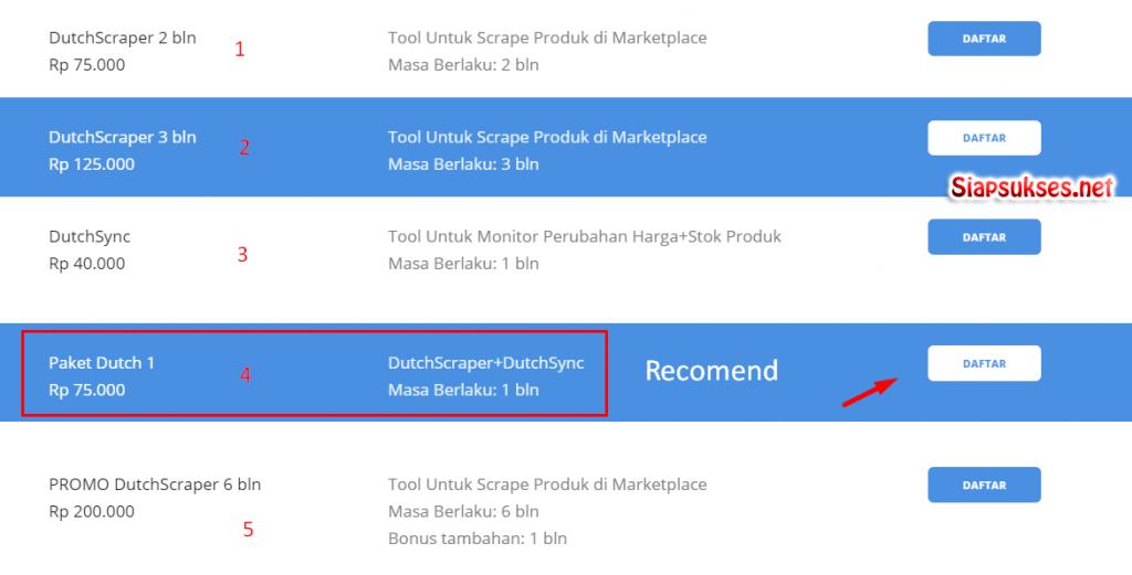 daftar dutchbot : pilih paket