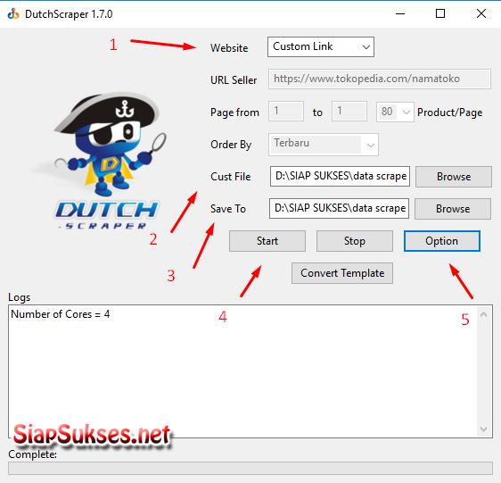 scrape custom link produk di dutchbot