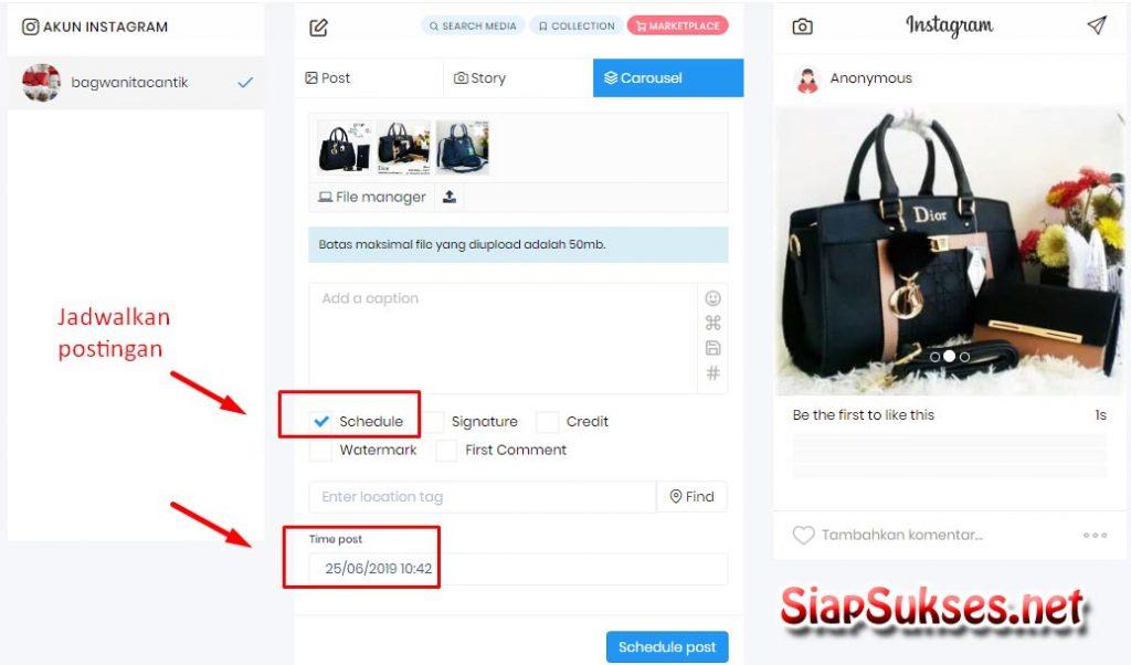 jadwalkan postingan instagram dengan software lancarin