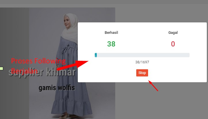 proses auto follow shopee berjalan