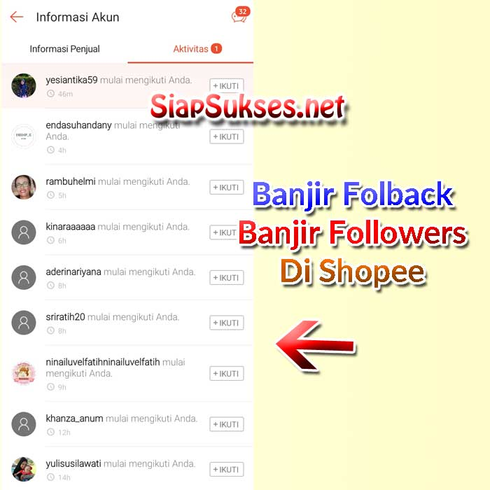 banjir follower shopee